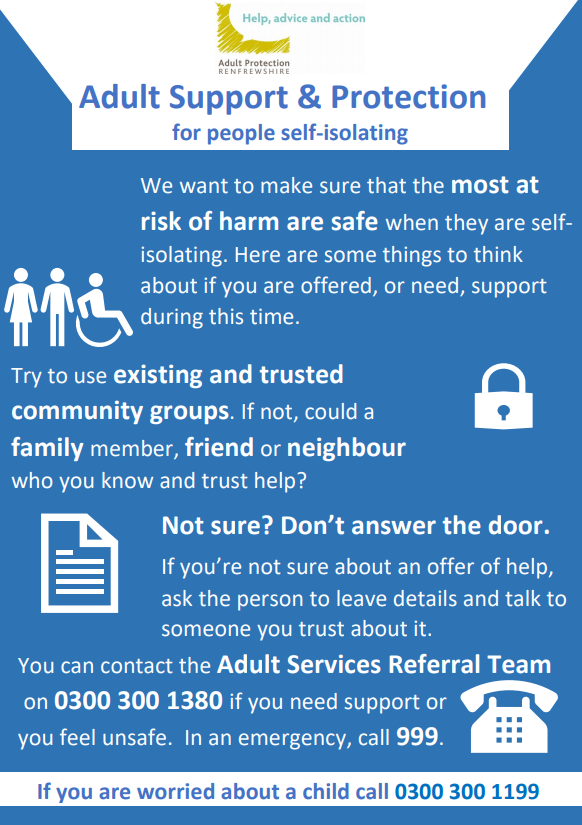 Vulnerable Adults in Self Isolation Poster